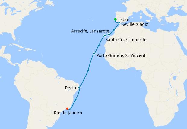Transatlantic from Lisbon to Rio de Janeiro