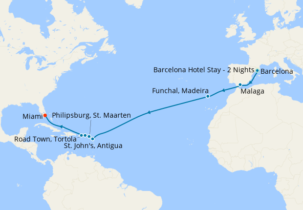 MSC Grand Voyage to Miami from Barcelona with Stay