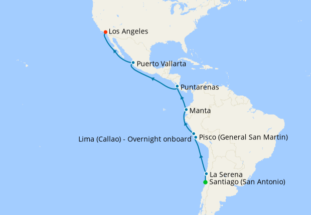 South America to Los Angeles from Santiago