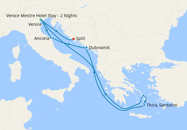 Italy, Croatia, Greece & Montenegro from Venice with Stay
