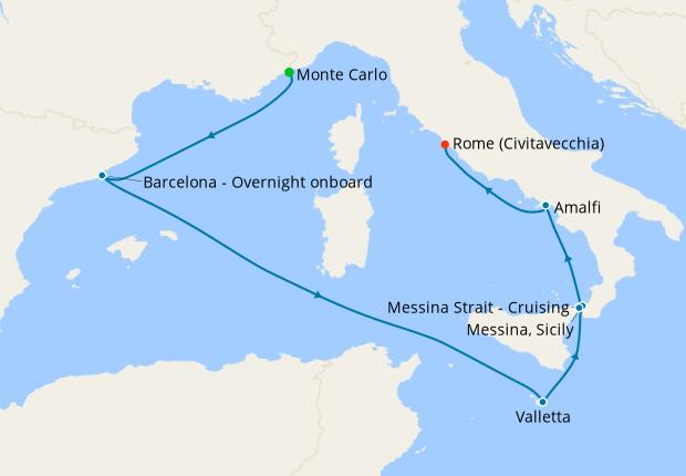 Monaco to Malta from Monte Carlo
