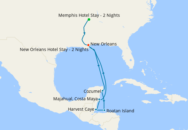 Memphis, New Orleans & Western Caribbean with Stays