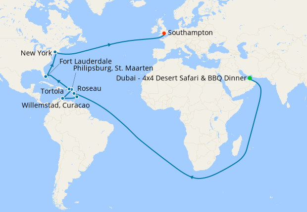 Dubai Stay, Muscat, Aqaba, Suez Canal & The Med to Southampton