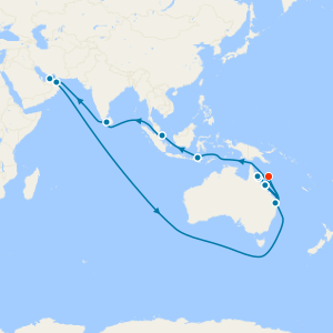 Brisbane to S.East Asia, Arabia, The Med & Dover