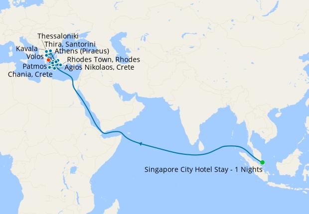 The Spice Route fr. Singapore to Sri Lanka, Suez Canal & Athens