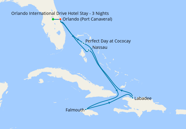 Western Caribbean with Perfect Day from Port Canaveral with Orlando Stay