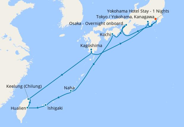 Southern Japan, The Tropical Islands & Taiwan fr. Yokohama