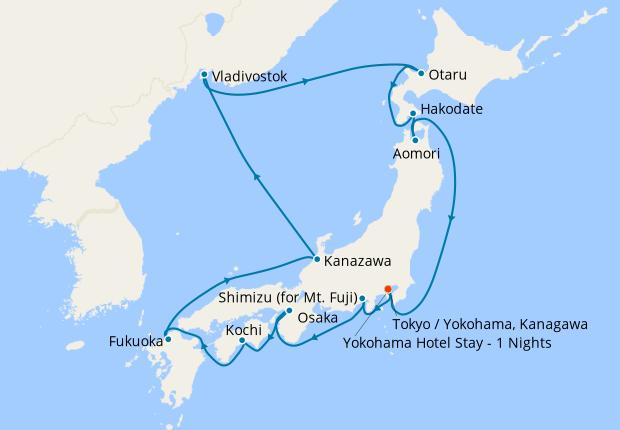 Russia & Circle of Japan fr. Yokohama