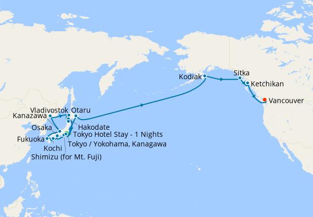 Japan, Russia & Pacific Crossing to Vancouver fr. Yokohama