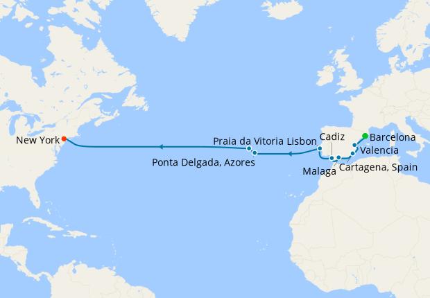 Transatlantic voyage from Barcelona to New York