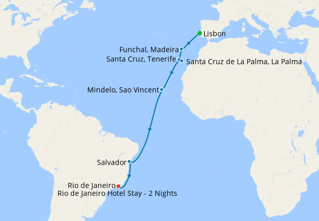 Canary Islands & Azores Voyage from Lisbon with Rio de Janeiro Stay