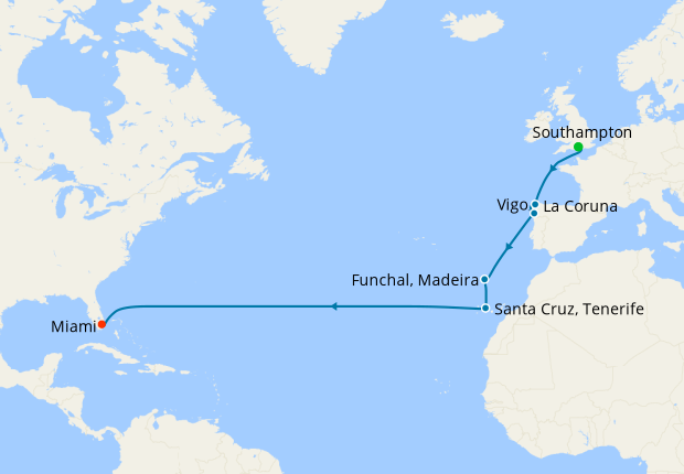 Transatlantic from Southampton to Miami