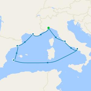Italy, Balearic Islands, Spain & France from Genoa