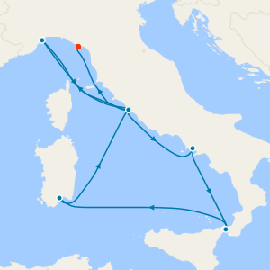Italy, France, Spain & Balearic Islands from Civitavecchia