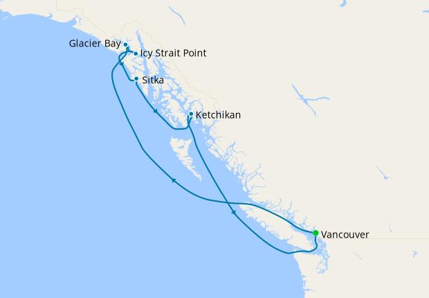 Alaska with Glacier Bay from Vancouver