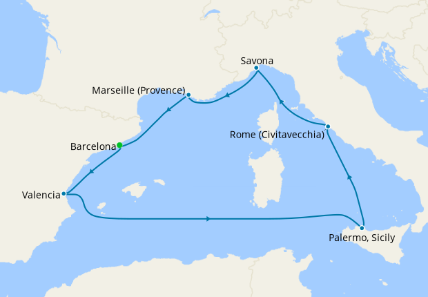 Spain, Italy & France from Barcelona