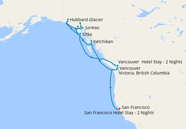 Alaska with Glacier Bay from Vancouver to San Francisco with Stays