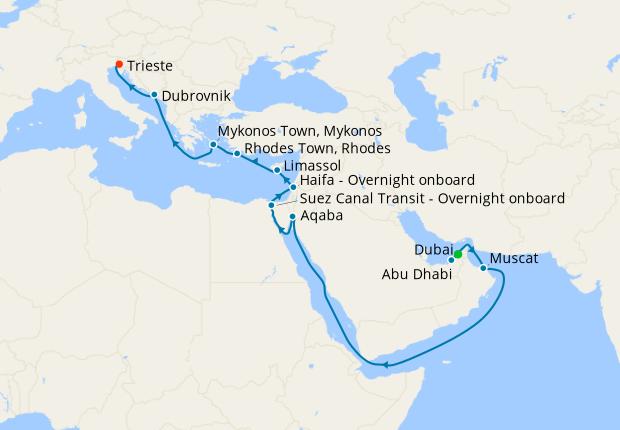 MSC Grand Voyage from Dubai to Trieste