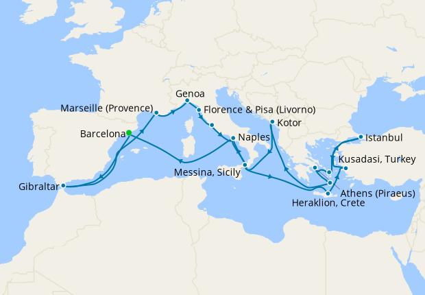 Western & Eastern Mediterranean from Barcelona