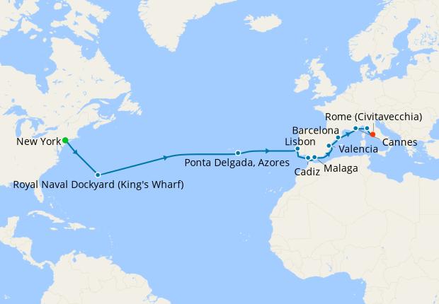 Transatlantic from New York to Rome