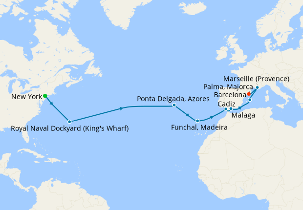 Transatlantic from New York to Barcelona
