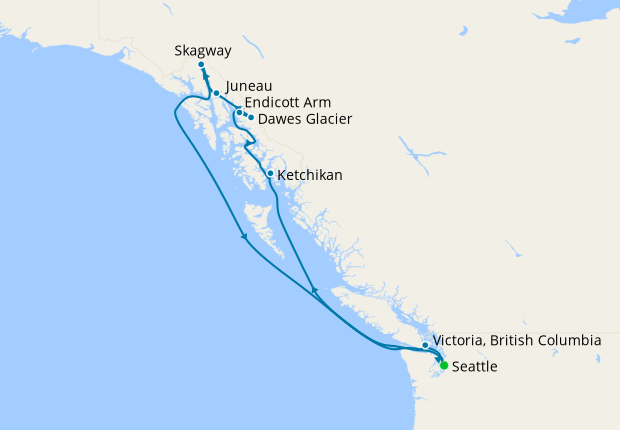 Alaska with Dawes Glacier from Seattle