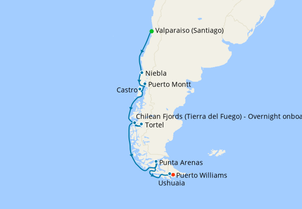 Chile to Argentine from Valparaiso