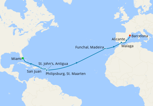 Grand Voyage from Miami to Barcelona