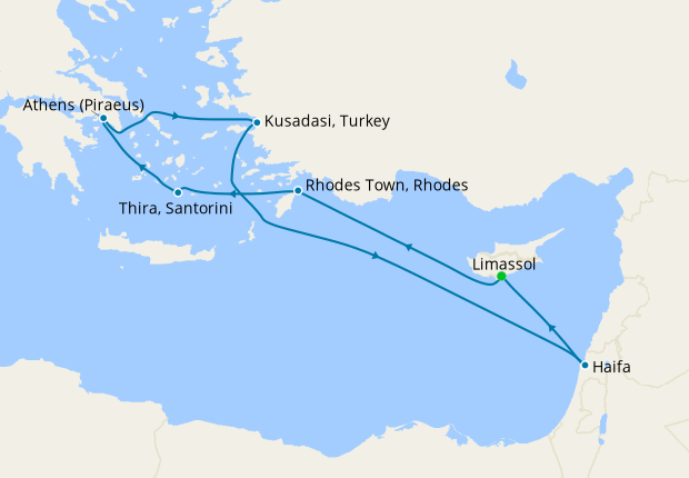 Cyprus, Greece, Turkey & Israel from Limassol