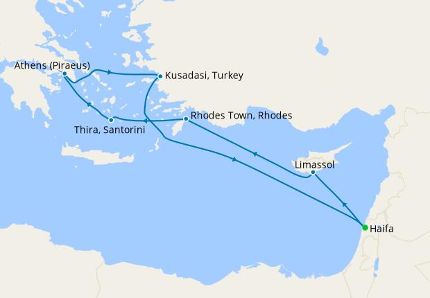 Israel, Cyprus, Greece & Turkey from Haifa