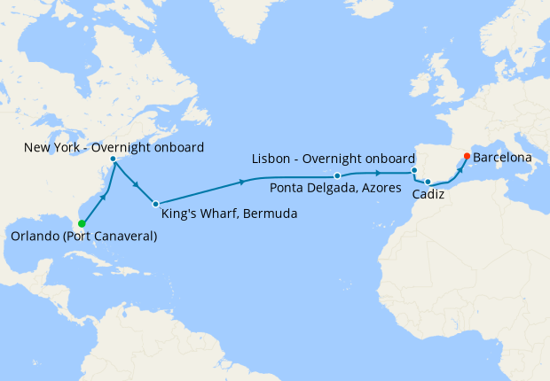 Grand Voyage from Port Canaveral to Barcelona