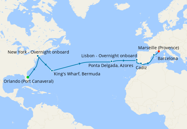 Grand Voyage from Port Canaveral to Marseille