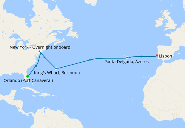 Grand Voyage from Port Canaveral to Lisbon