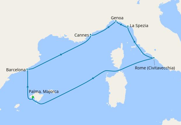 Spain, France & Italy from Palma, Majorca