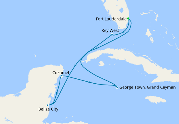 Key West, Belize & Grand Cayman from Ft. Lauderdale
