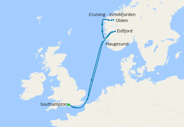 Norwegian Fjords & Mighty Waterfalls from Southampton
