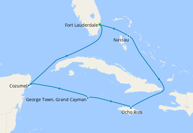 Mexico, Jamaica & Grand Cayman from Ft. Lauderdale