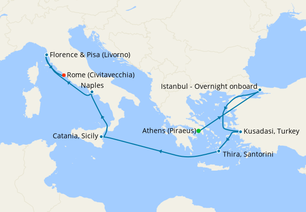 Italy, Greece & Turkey from Athens