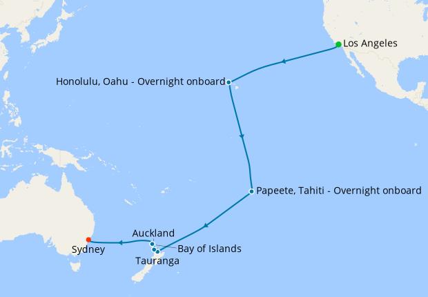 Hawaii, Tahiti & South Pacific Crossing from Los Angeles