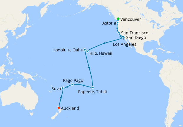 Hawaii, Tahiti & South Pacific Crossing from Vancouver