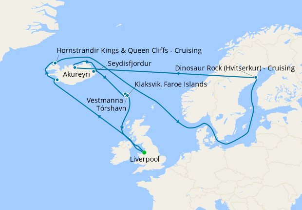 Dramatic Coastlines of Iceland & Faroes from Liverpool