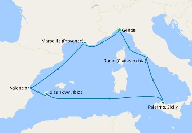Italy, Spain & France from Genoa