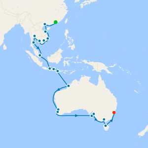 Far East to Down Under from Hong Kong