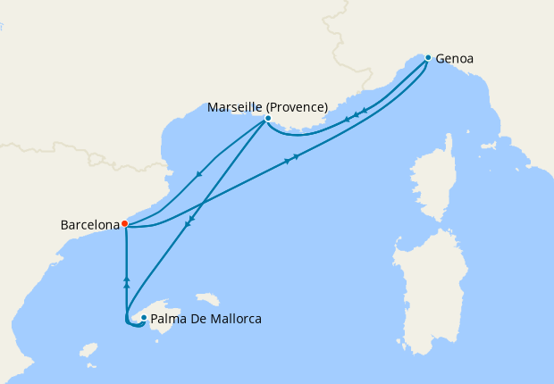 Canary Islands & Mediterranean from Genoa