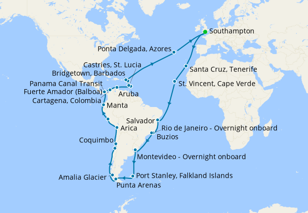 Grand Tour to South America from Southampton