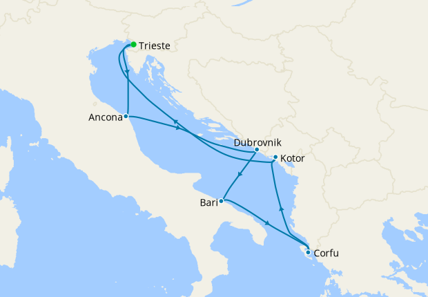 Italy, Croatia, Greece & Montenegro from Trieste