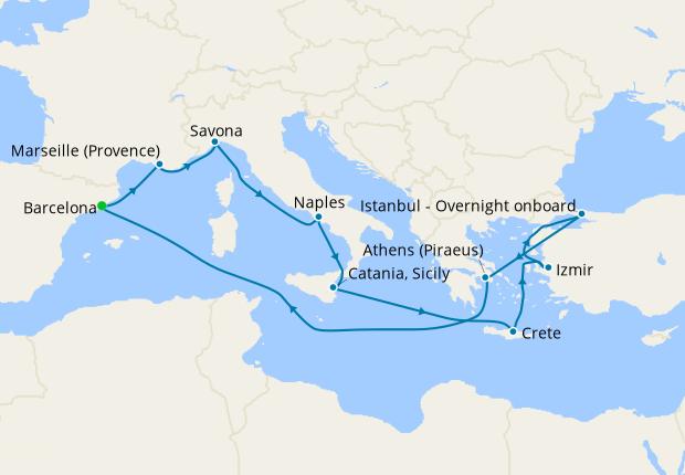 Spain, France, Italy, Greece & Turkey from Barcelona