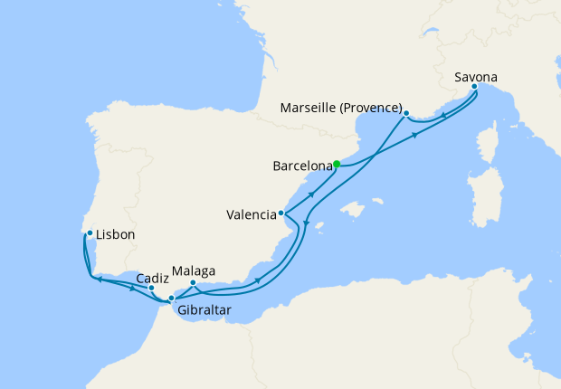 Spain, Italy, France, Portugal & Gibraltar from Barcelona