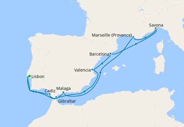 Portugal, Gibraltar, Spain, Italy & France from Lisbon