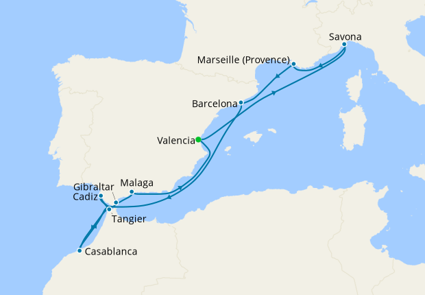 Spain, Italy, France & Morocco from Valencia